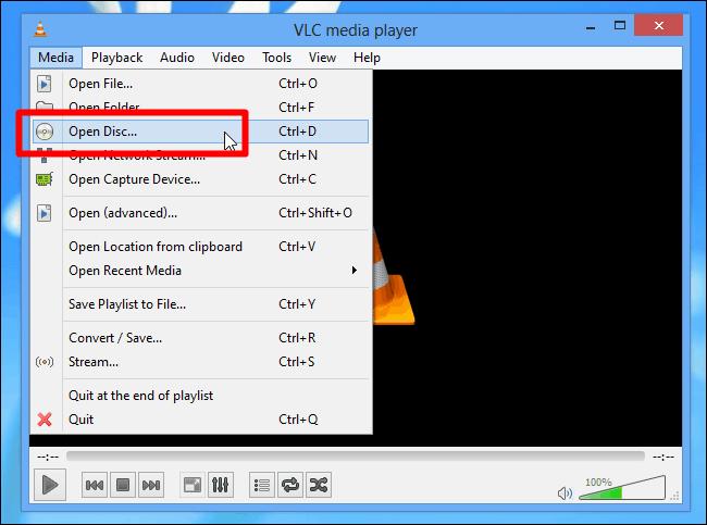 Open Disc in VLC