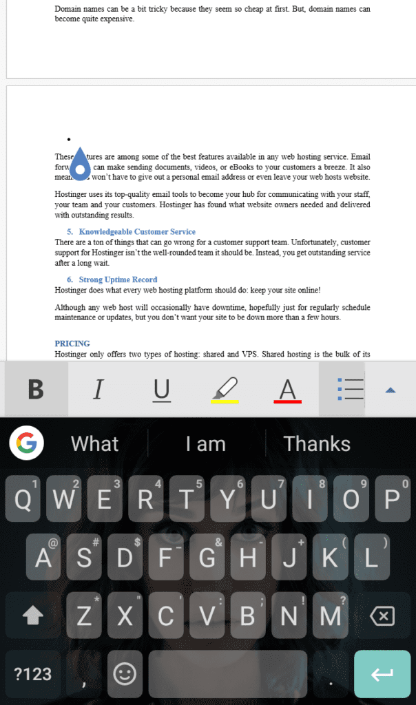 How to delete a page in MS Word mobile app on android device step 3