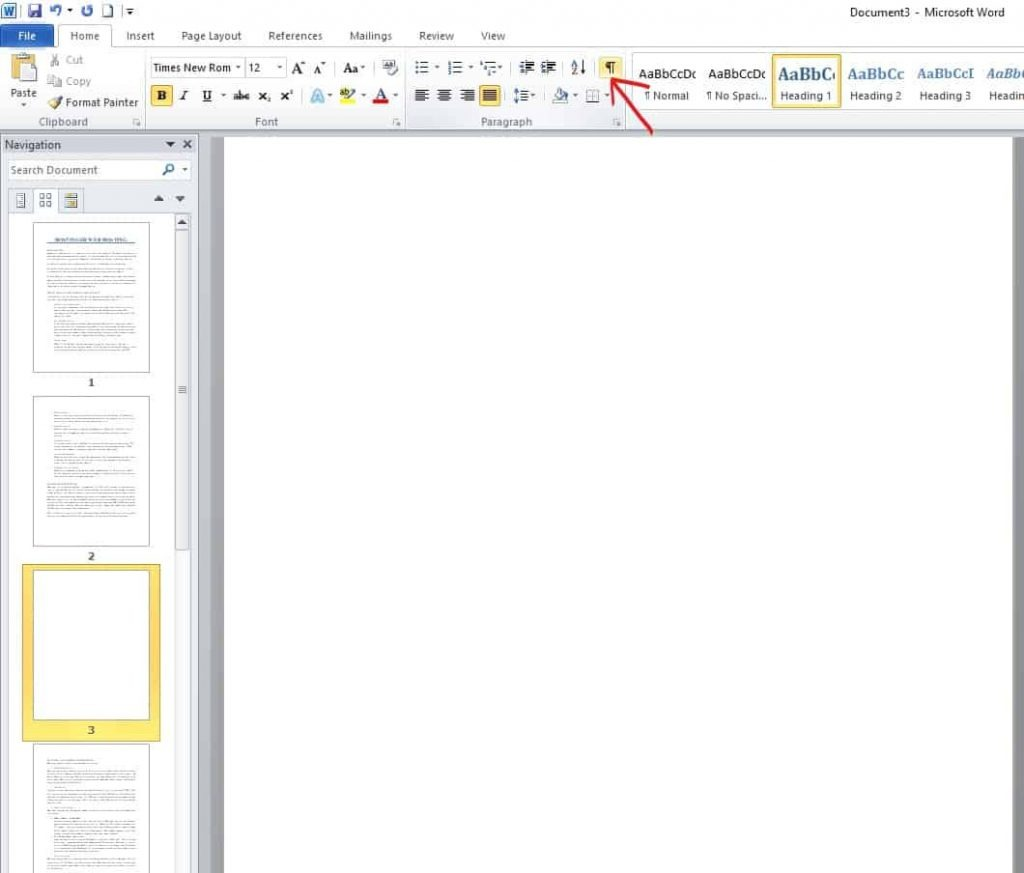 How to delete a blank page in ms word step 3