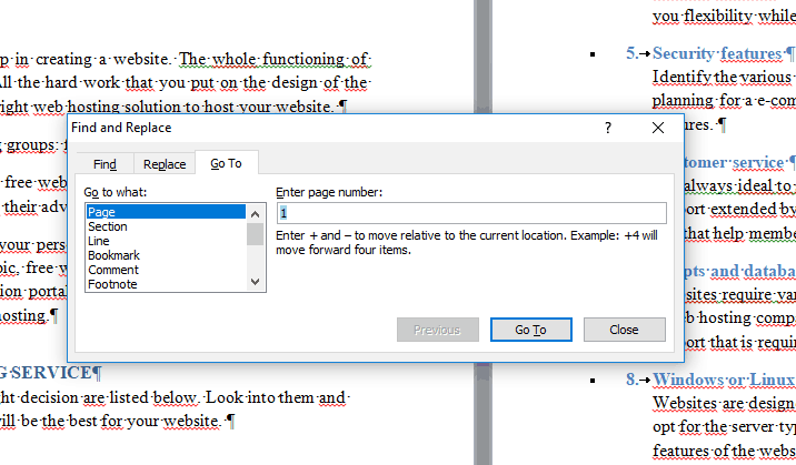 How to delete multiple pages in MS word step 3
