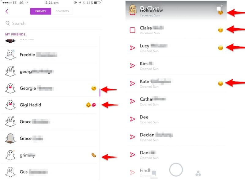 Top 6 snapchat hacks and tricks you must know - emoji in contact name