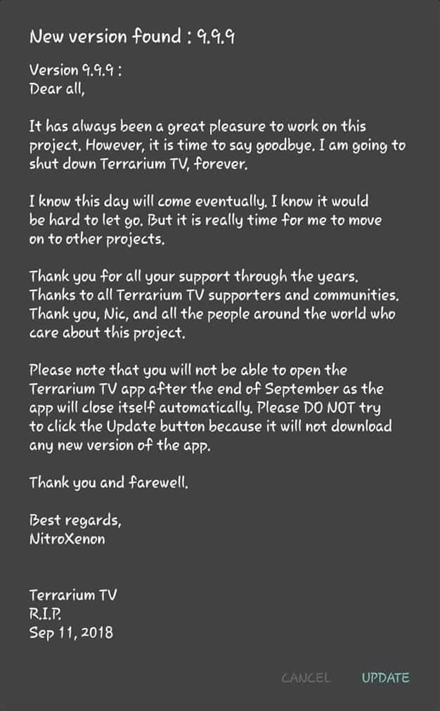 A screenshot of Terrarium TV shutdown. Text is written below.