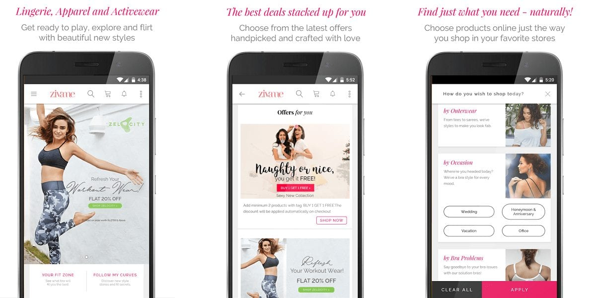Zivame Shop Lingerie, Activewear, Apparel Online App Review - 30 Best Online shopping Apps in India