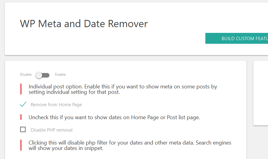 WP meta and date remover