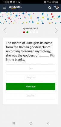 Amazon June Quiz Answer 4