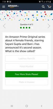 Amazon Quiz 12th June, 2019 Answer 2