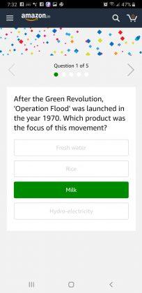 Amazon Quiz Time June 13th, 2019 Answer 1