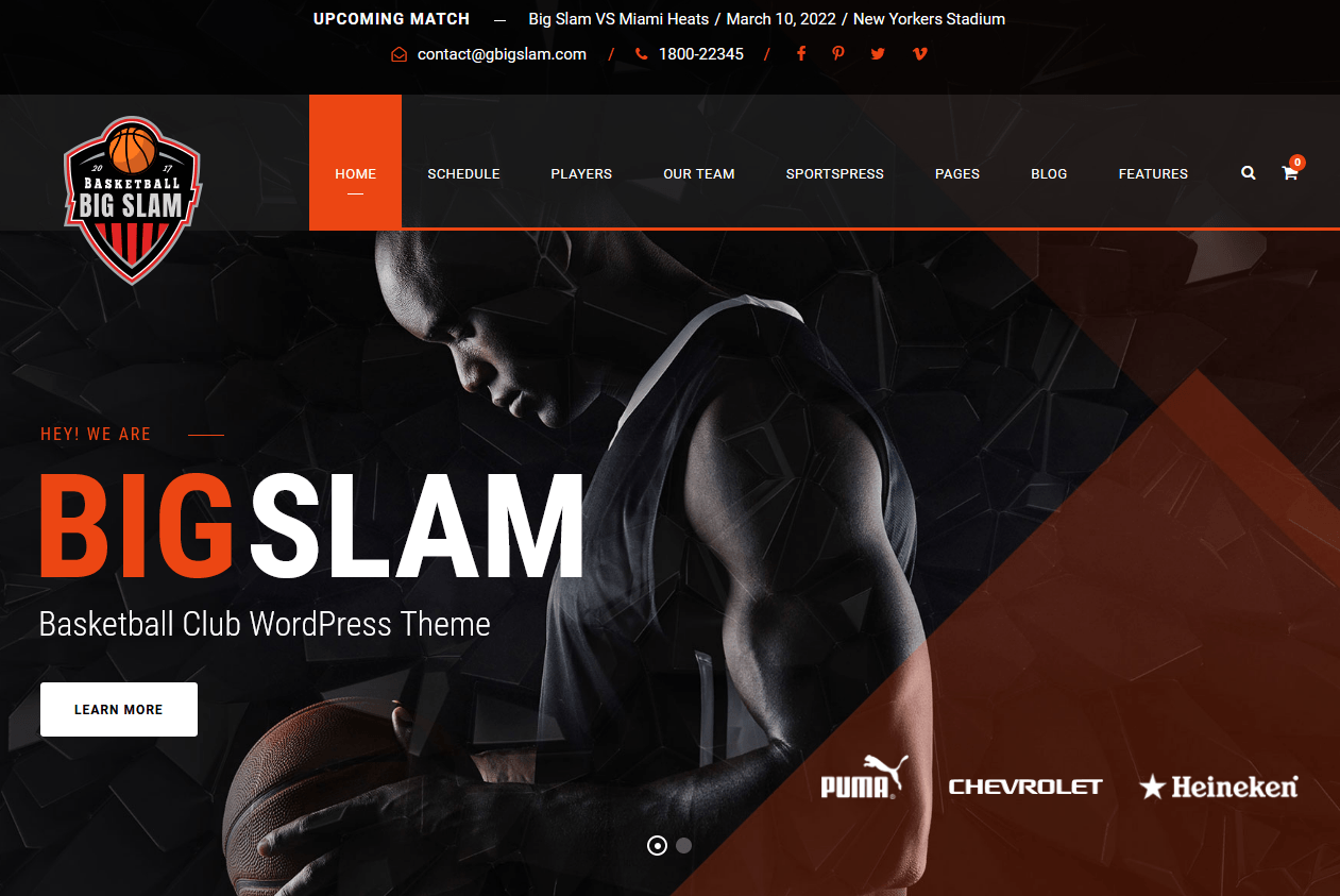 Big Slam – Sport Club WordPress Theme