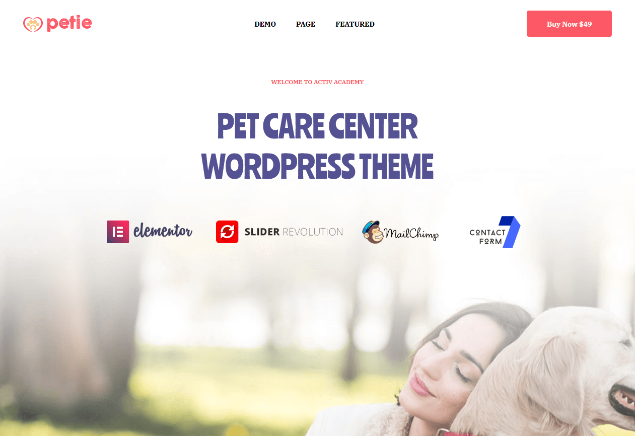Petie Landing Page - WordPres Themes