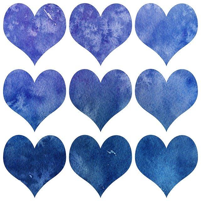 valentin, heart, watercolor