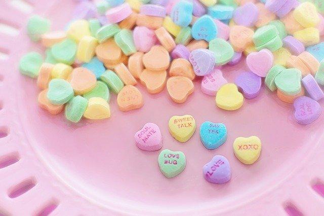 valentine candy, hearts, conversation