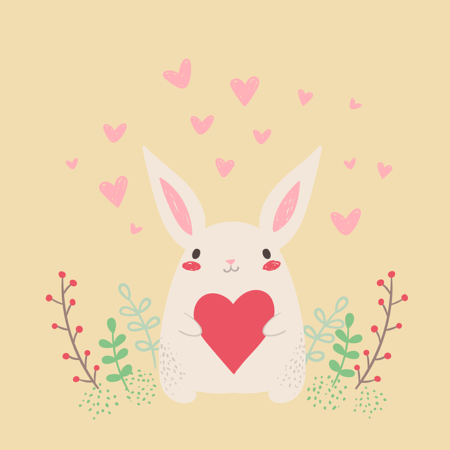 rabbit, heart, cute, happy valentines day card