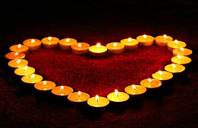 candles, heart, flame, happy valentines day image/card