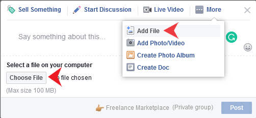 Add PDF on Facebook