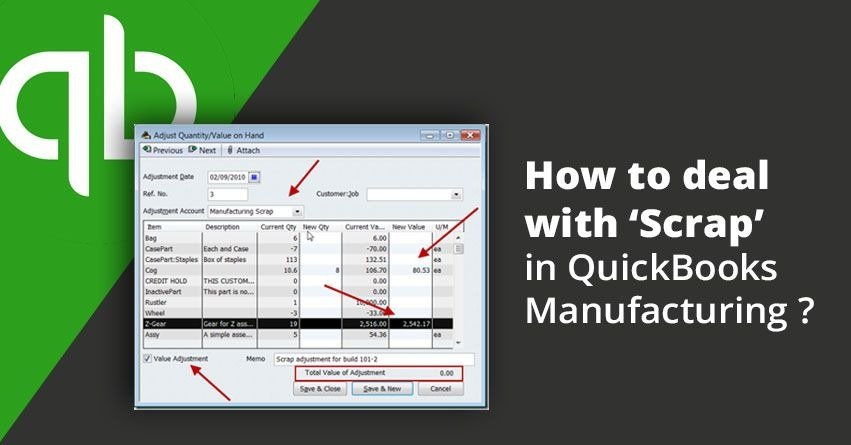 How to deal with 'Scrap' in QuickBooks Manufacturing