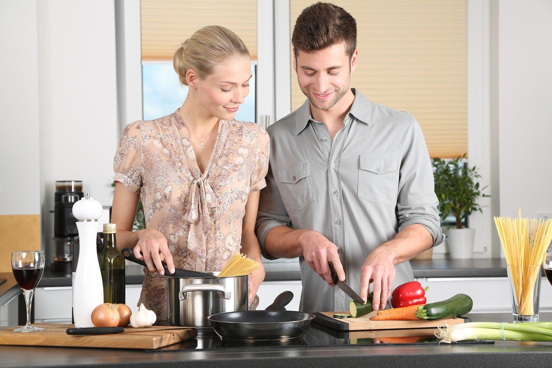 woman, man, kitchen